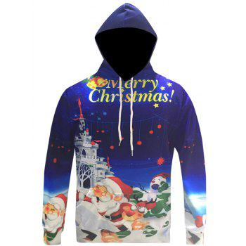 Buy Pocket Front 3D Print Pullover Christmas Hoodie BLUE