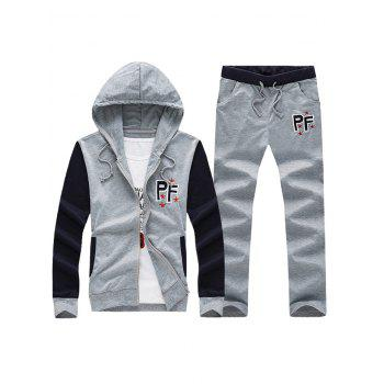 Embroidered Patch Zip Up Hoodie and Casual Pants Twinset