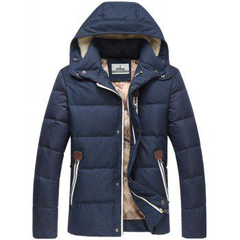 Elbow Patch Zip Pocket Flocking Hooded Down Jacket