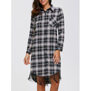 Plaid Fringed Button Up Dress
