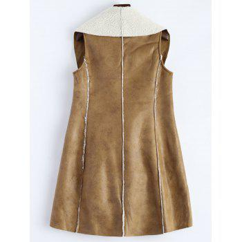 Long Faux Suede Open Front Vest - 2XL 2XL
