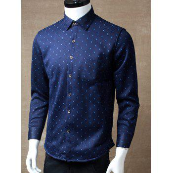 Buy Long Sleeve Square Printed Pocket Design Shirt BLUE