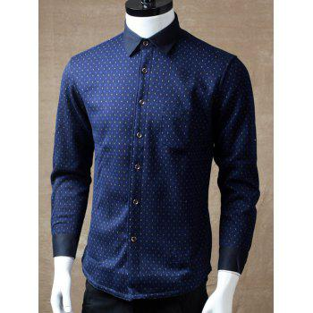 Buy Turndown Collar Long Sleeve Printed Pocket Shirt BLUE