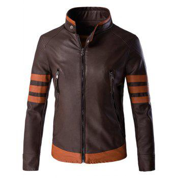 Color Block Splicing Design Plus Size Zip Up PU Leather Jacket