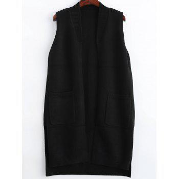 Asymmetric Sleeveless Knit Cardigan With Pockets
