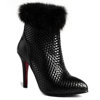 Faux Fur Embossed Stiletto Heel Ankle Boots