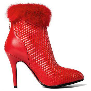 Faux Fur Embossed Stiletto Bottes talon cheville - Rouge 38