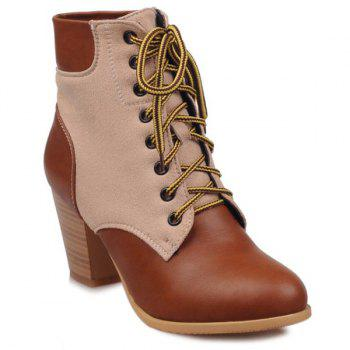 PU Leather Panel Lace Up Chunky Heel Boots