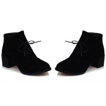 Flock Chunky Heel Lace Up Bottes Bottines - Noir 37