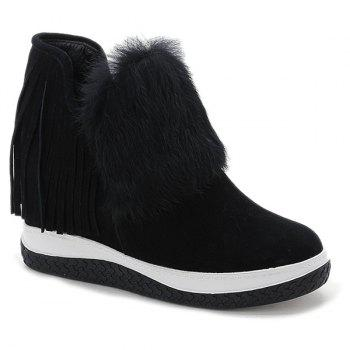 Hidden Wedge Faux Fur Fringe Ankle Boots