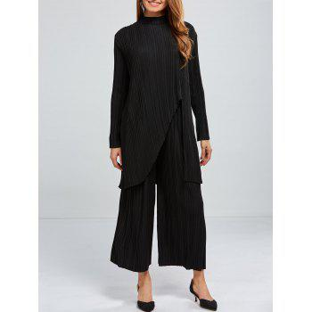 Pleated Asymmetrical Top and Wide Leg Pants
