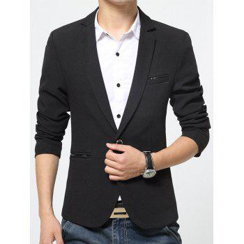 Pocket Notch Lapel One Button Blazer