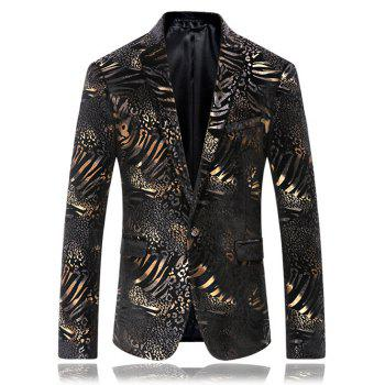 Single Breasted Flap Pocket Foil Print Blazer