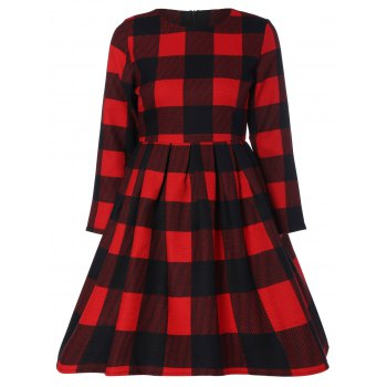 Plaid Slimming A Line Dress