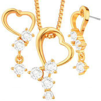 Rhinestone Heart Hollow Out Necklace Set