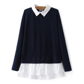 Raglan Sleeves Shirt Neck Panel Sweater