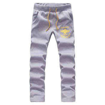 Zip Up Graphic Printed Hoodie and Sweatpants - LIGHT GRAY LIGHT GRAY