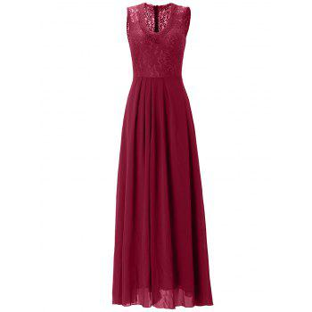 Lace Panel Chiffon Swing Wedding Guest Prom Dress