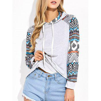Raglan Sleeve Geometric Print Hooded Tee