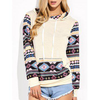 Geometric Print Pocket Design Hooded Tee