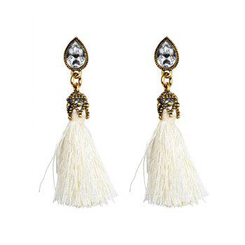 Rhinestone Water Drop Tassel Earrings