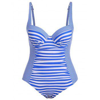 Spaghetti Straps Striped Plus Size Swimwear One Piece