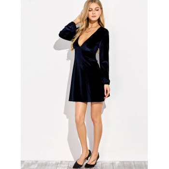 Empire Waist Velvet Long Sleeve Plunge Cocktail Dress - PURPLISH BLUE S