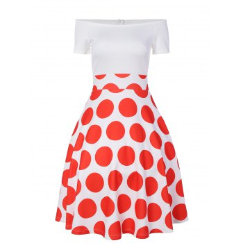 Off The Shoulder Polka Dot A Line Dress - RED M
