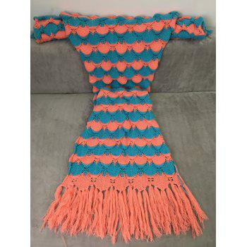 Soft Fish Scales Tassel Design Crochet Mermaid Tail Blanket - CORNFLOWER