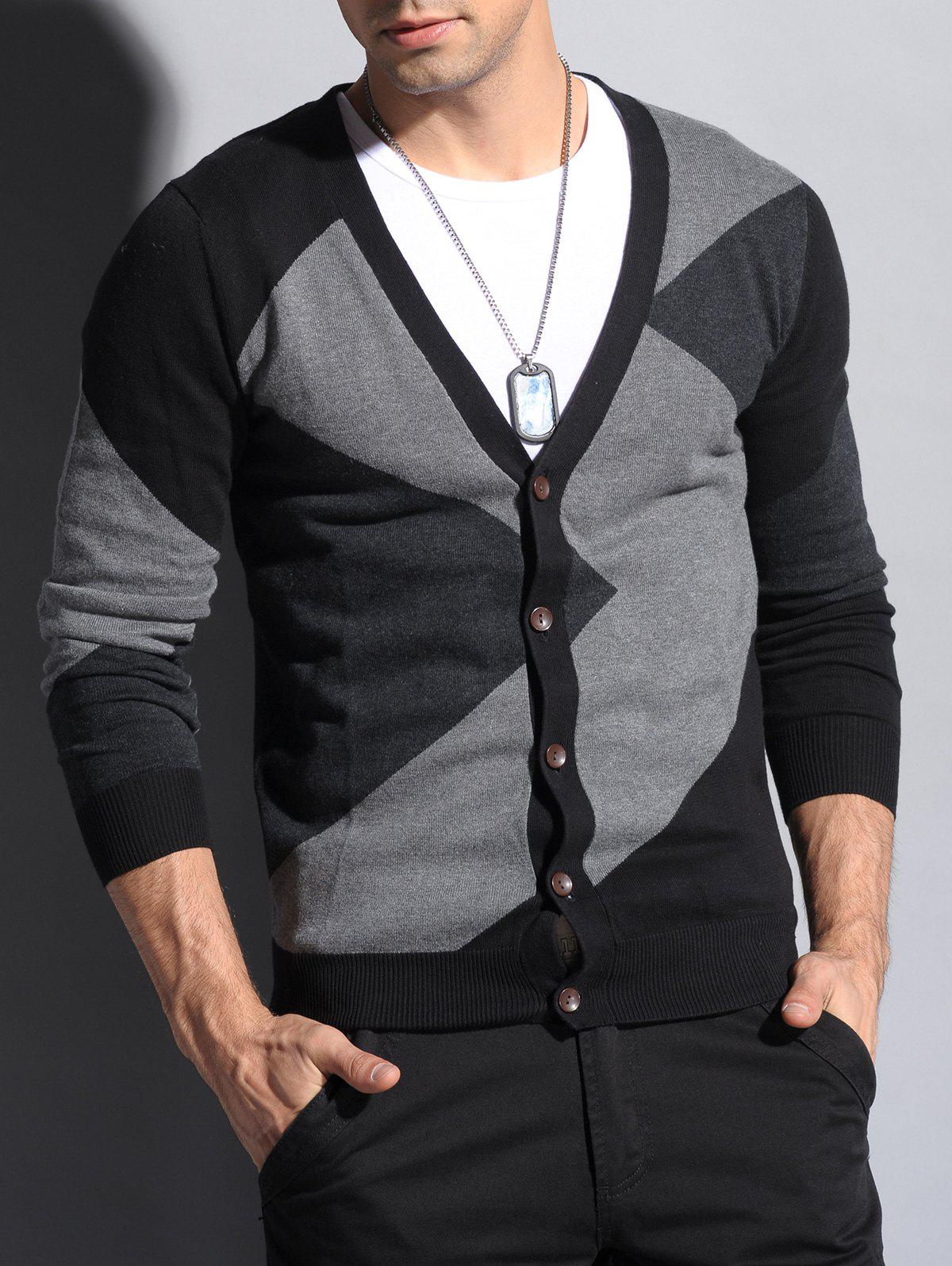 2017 Color Matching V Neck Button Up Cardigan BLACK M In Cardigans ...