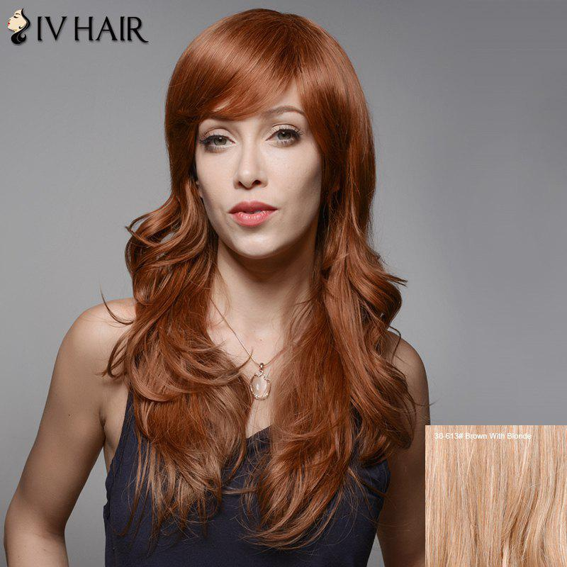 Siv Hair Long Wavy Inclined Bang Human Hair Wig - BROWN/BLONDE