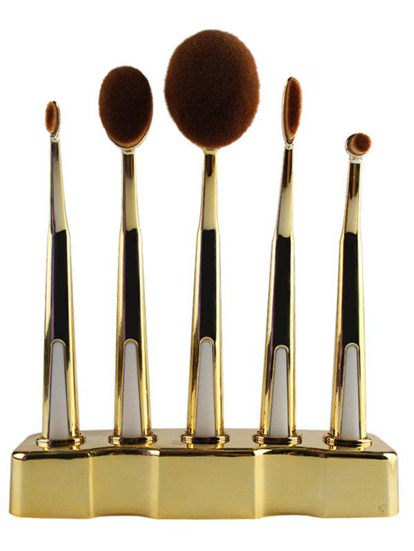 5 Pcs Nylon Toothbrush Shape Makeup Brushes Set with Brush StandAccessories<br><br><br>Color: GOLDEN