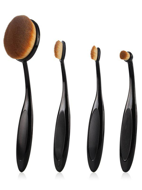 4 Pcs Toothbrush Shape Nylon Makeup Brushes Set - BLACK