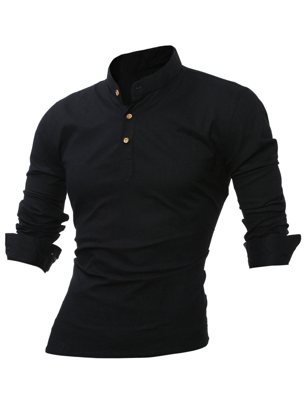 Long Sleeve Mandarin Collar Button Up Tee - BLACK 5XL