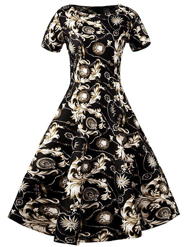 Slim Fit Ornate Print Swing Dress - BLACK S
