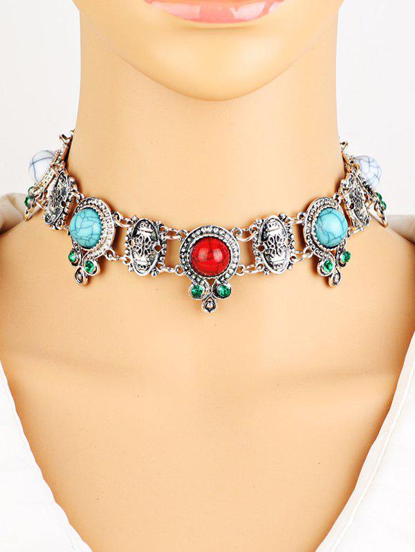 Bohemian Rhinestone Faux Turquoise Necklace - SILVER