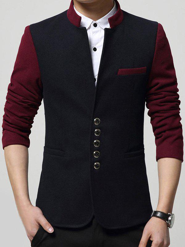 Buy Single Breasted Stand Collar Pocket Two Tone Blazer CADETBLUE