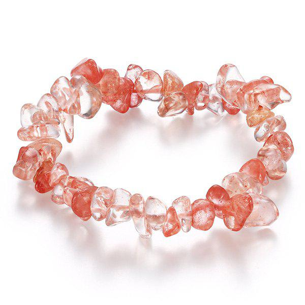 Embellished Natural Stone Strand BraceletJewelry<br><br><br>Color: WATERMELON RED