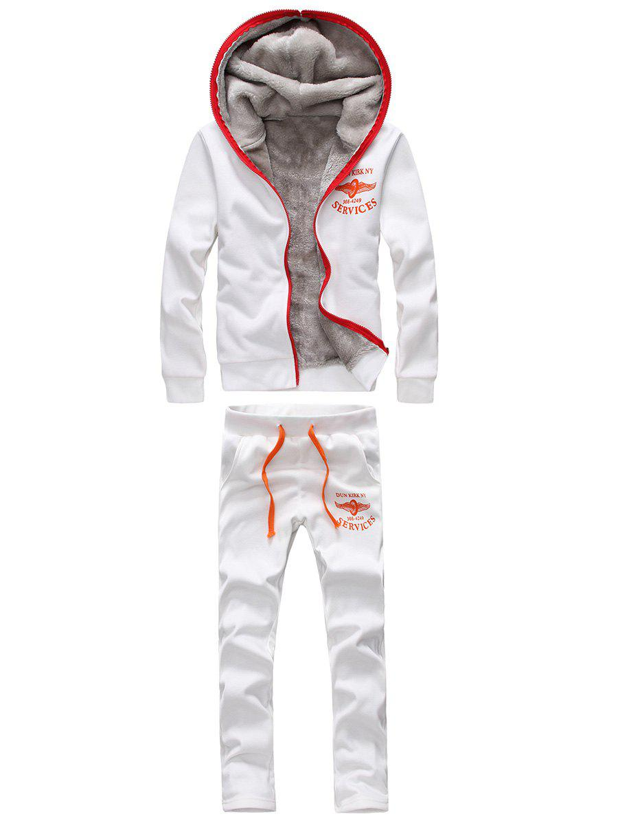 Zip Up Graphic Printed Hoodie and Sweatpants - WHITE 5XL