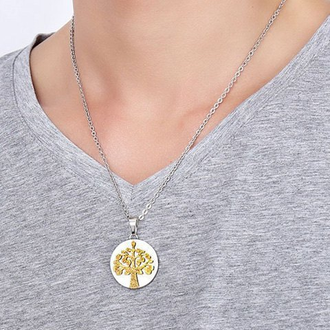 Polished Stainless Steel Tree Pendant Necklace - GOLDEN