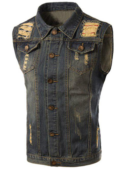 Trendy Turn-Down Collar Ripped Design Sleeveless Men's Denim Waistcoat - BLUE L