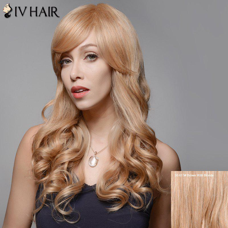 Siv Hair Side Bang Stunning Long Wavy Human Hair Wig - BROWN/BLONDE