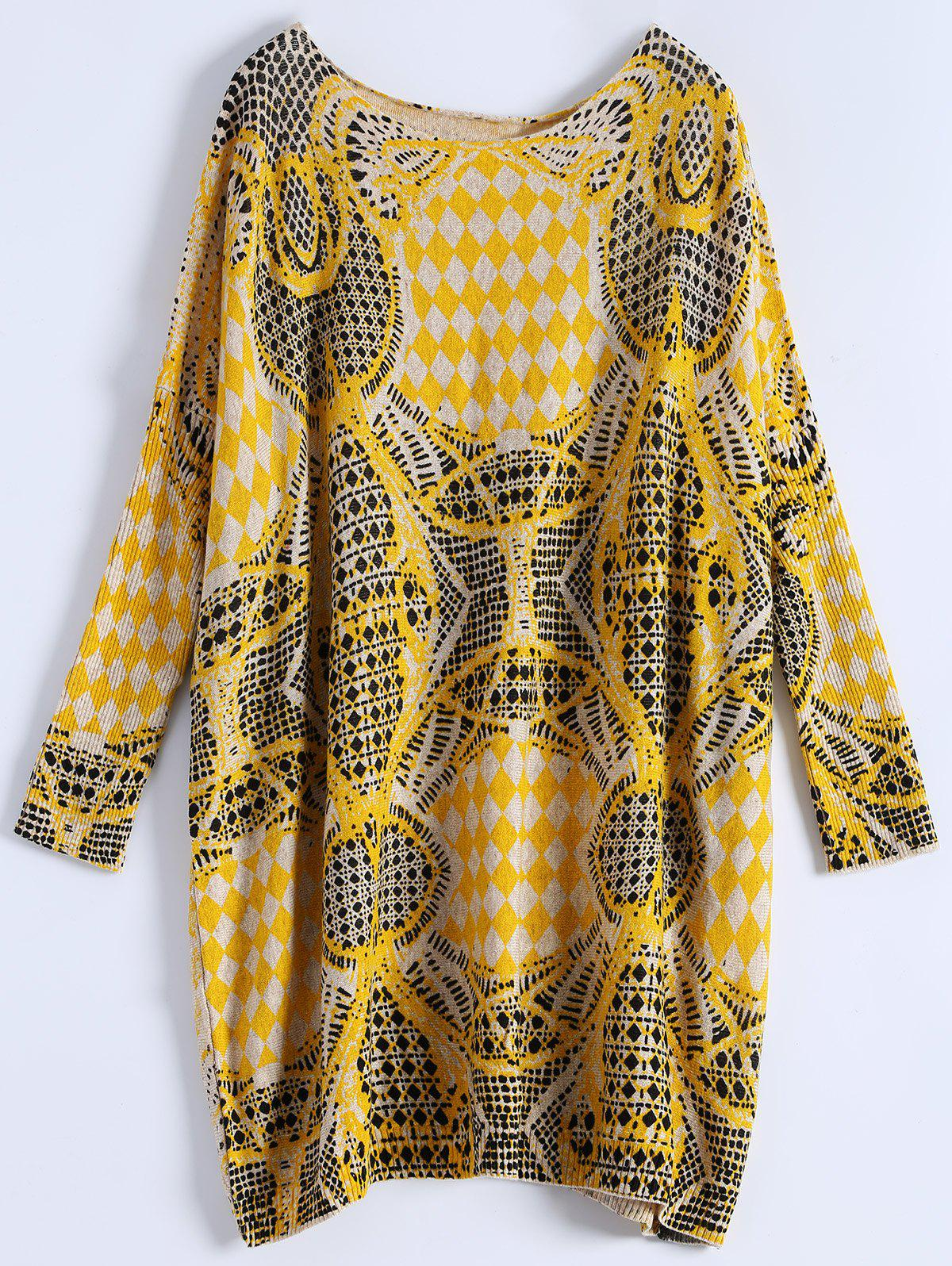 все цены на Plus Size Batwing Sleeve Patterned Sweater