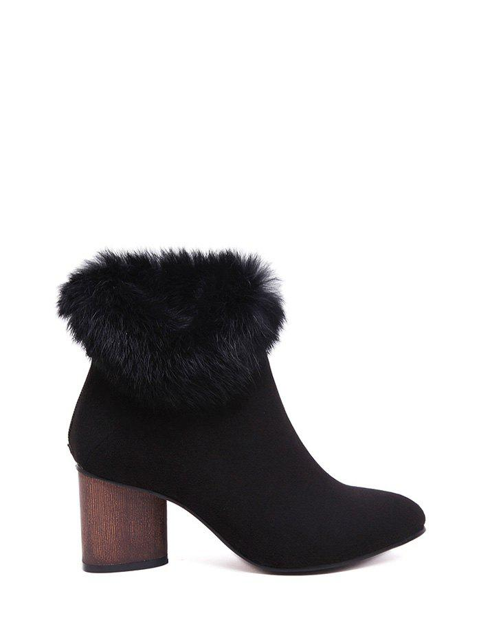 Pointed Toe Faux Fur Zipper Ankle Boots point toe faux fur ankle boots