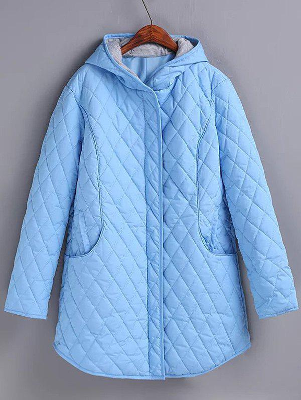 Plus Size Hooded Grid Quilted Coat - LIGHT BLUE 4XL