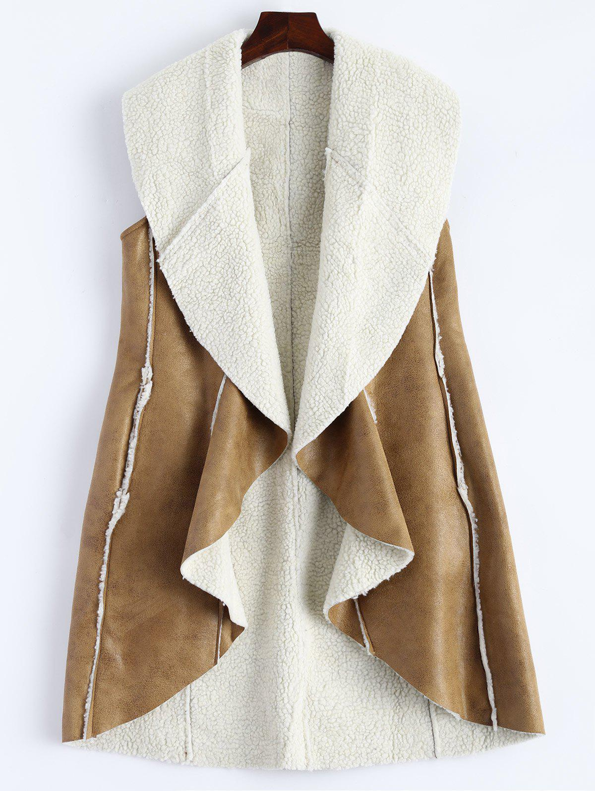 Long Faux Suede Open Front Vest - CAMEL XL