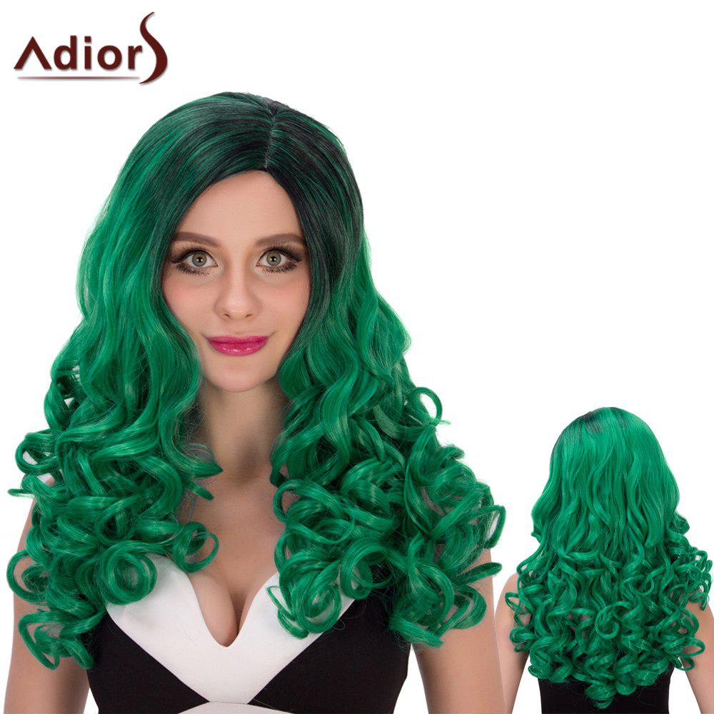 Long Adiors Ombre Fluffy Wavy Side Parting Cosplay Synthetic Wig stylish long black ombre gray synthetic fluffy wave side parting women s adiors wig