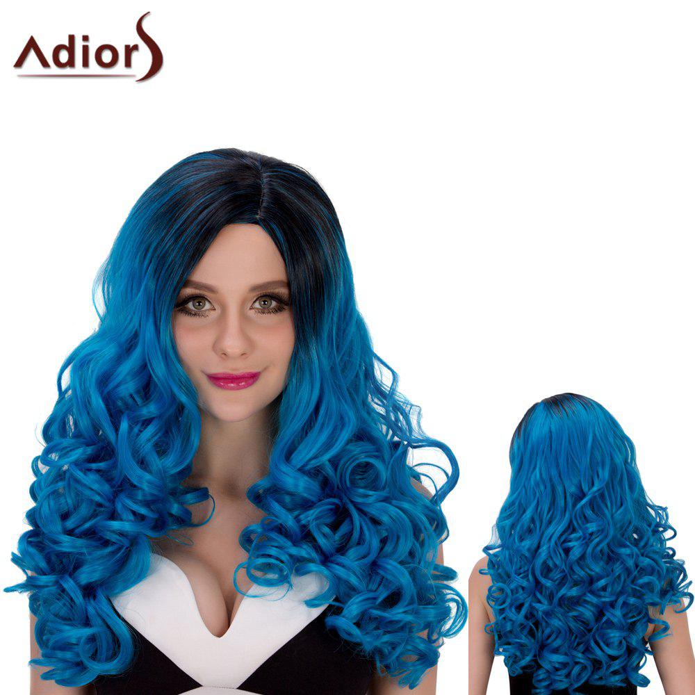Long Ombre Adiors Wavy Oblique Parting Cosplay Synthetic Wig dark to brown body wavy ombre synthetic lace front wig ombre synthetic lace front wig cosplay heat resistant