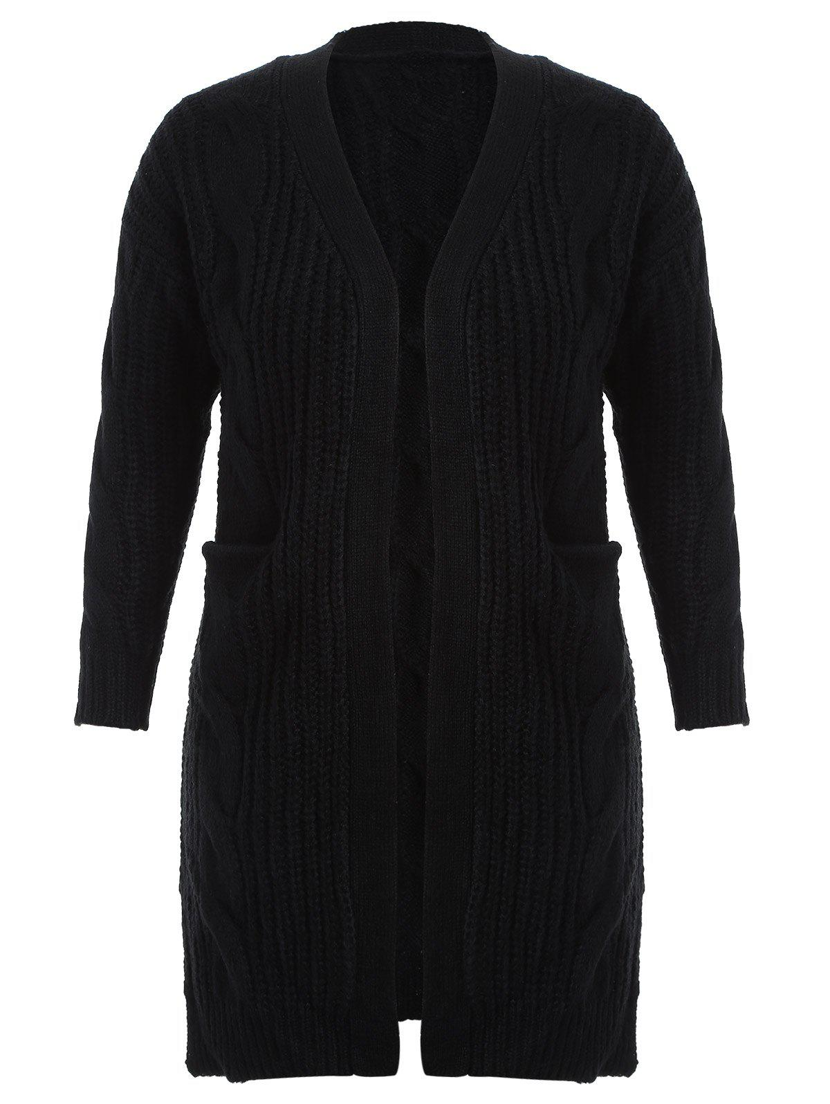Plus Size Cable Knit Pockets Design Cardigan - BLACK 3XL
