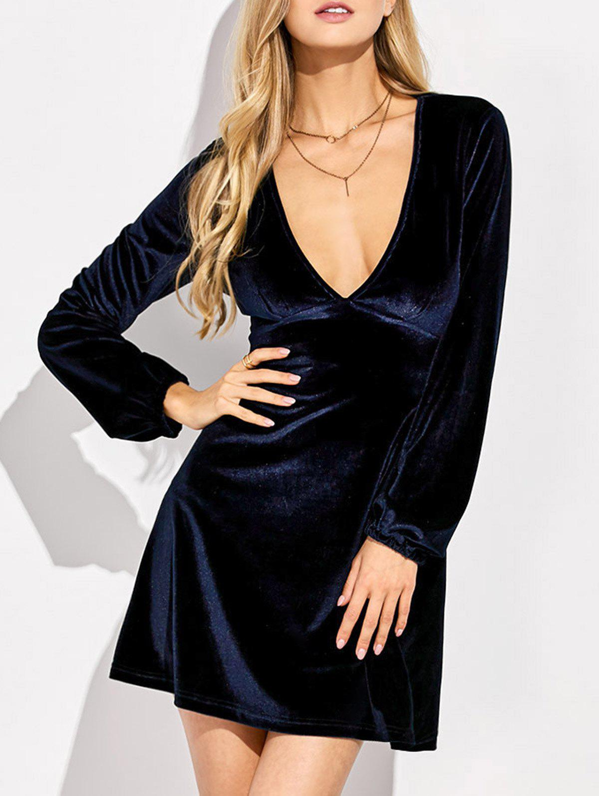 Empire Waist Velvet Long Sleeve Plunge Cocktail Dress - PURPLISH BLUE M